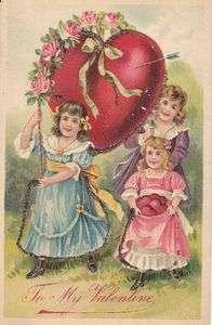 Valentines Day Heart children old antique 1900s German old postcard