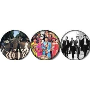 of 3 THE BEATLES Pinback Buttons 1.25 Pins / Badges John Lennon Ringo