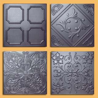 Metal look ceiling tiles