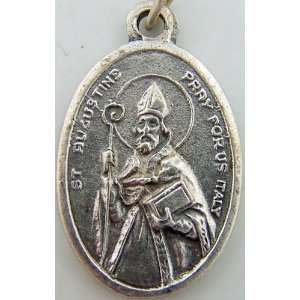 Saint St Augustine Pray For Us Silver P Religious Medal: Jewelry