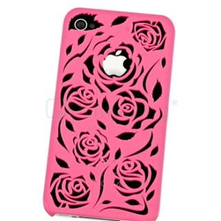 Pink Carving Flower Rose Hard Cover case for iphone 4 4S Sprint AT&T