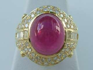 . Yellow Gold Cabochon Pink Tourmaline & Diamond Ring, Vintage
