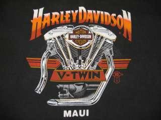 Harley Davidson T Shirt Vintage V Twin Maui Hawaii Large L