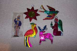 Vintage Tin Christmas Ornaments Deer Bird Angel