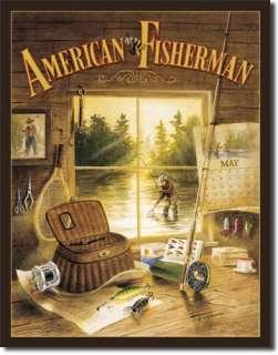 Kaatz American Fisherman Fishing Cabin Lodge Room Decor Metal Tin Sign