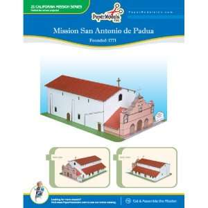 California Mission San Antonio 10 x 13 Paper Model (California