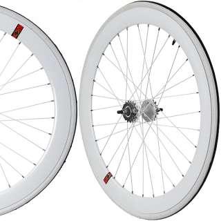Fixie Single Speed Road Bike Track Wheel Wheelset Sealed + Tyres White