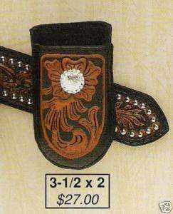 PHONE HOLSTER Belt Clip Western Hand Tooled Leather/BLK