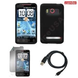 HTC EVO 4G Sprint Combo Solid Black Premium Silicon Skin
