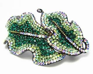 LEAVES HAIR BARRETTE CLIP PONY HOLDER AUSTRIAN RHINESTONE CRYSTAL