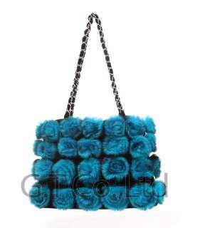 0282 Rabbit Fur Big Lovely Beauty Colorful strap /side bag handbag A