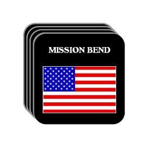 US Flag   Mission Bend, Texas (TX) Set of 4 Mini Mousepad