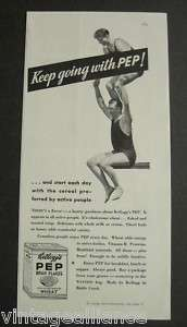 1933 Vintage KELLOGGS PEP Bran Flakes Diving Board Ad