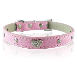 11 pink leather crystal heart dog collar small
