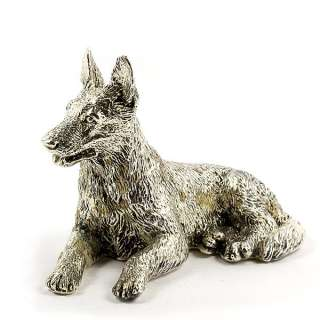 Sterling Silver German Shepherd Dog Figurine Miniature