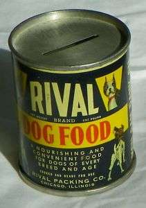 RIVAL DOG FOOD   CAN   PIGGY BANK   VINTAGE