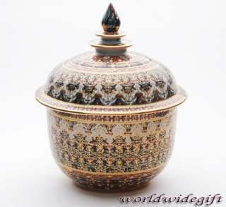 Thai Art Benjarong Pottery Lid Bowl Jar Gold Silk Box