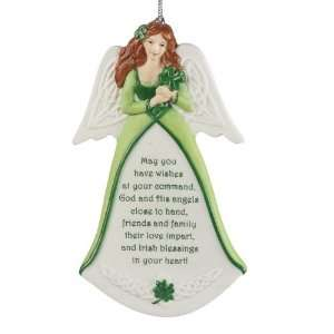 Irish Blessing Celtic Shamrock Angel Porcelain Christmas