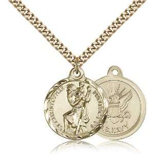 Gold Filled St. Saint Christopher / Paratrooper Medal Pendant 7/8 x 3