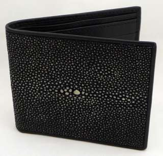 BLACK POLISHED REAL GENUINE STINGRAY SKIN LEATHER MENS WALLET BIFOLD