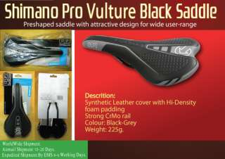 Shimano Pro Vulture Black Saddle Seat Road Bike Bicycle Worldwide Free