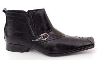 Mens Boots Fashion Buckle Design Stretch Fit Tapered Front Leather