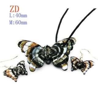 Multicolor Butterfly Lampwork Glass Necklace Pendant Earring set