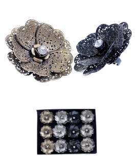 Ƹ̵̡Ӝ̵̨̄Ʒ~GIANT LAYERED FLOWER&STONE RING SMOKY GRAY GOLD BLACK
