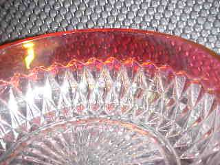 INDIANA GLASS COMPANY RUBY FLASH DIAMOND POINT BOWL 5   3 AVAILABLE