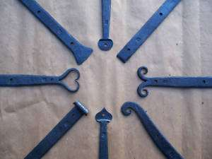 Blacksmith Forged (18 inch) Wrought Iron Strap Hinges