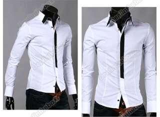 Mens Casual False Tie Slim Fitting Stylish Long Sleeve Shirts Luxury