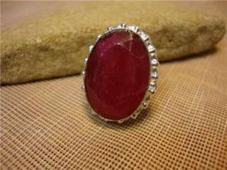 RUBY RED HUGE GENUINE STONE STERLING SILVER WOMEN RING ART DECO STYLE