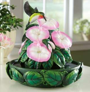 Hummingbird Floral Hand Painted Decorative Indoor Fountain New
