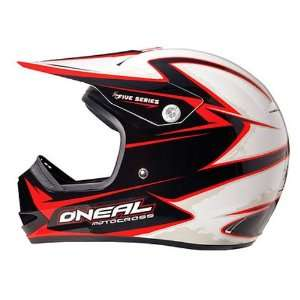 ONeal 5 Series Friction Motorcycle Helmet   White/Red