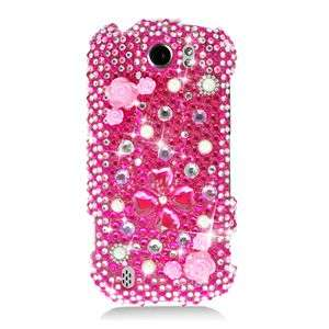 FLOWERS PINK BLING HARD CASE FOR HTC MYTOUCH 4G SLIDE PROTECTOR SNAP