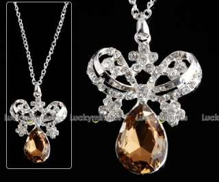 J100 Flower Jewelry Crystal Long Chain Necklace Pendant
