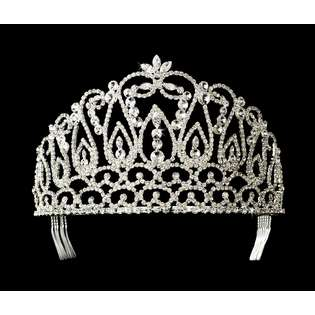 Second Glance Fashions Silver Crystal Rhinestone Pageant Crown Tiara