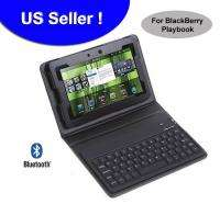 Bluetooth Wireless Keyboard Leather Cover Case Black for 7 BlackBerry