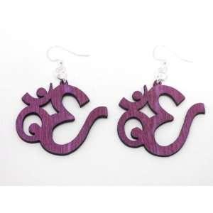 Fuschia Chinese Religious Symbol Wooden Earrings: GTJ
