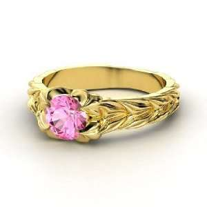 Rose and Thorn Ring, Round Pink Sapphire 14K Yellow Gold