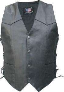 Mens TALL Black Buffalo Leather Motorcycle VEST 58 Lace
