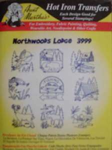 EMBROIDERY IRON TRANSFER PATTERNS WOODS LODGE FISHING