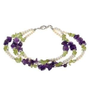 , White Pearl & Green Peridot Bracelet With Silver Beads Jewelry