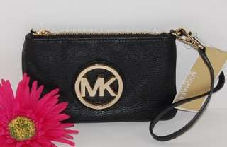 New MICHAEL KORS Fulton Black Leather Gold MK Wristlet Bag $88