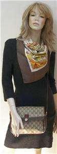 VINTAGE GUCCI Brown Logo Red & Green Stripe Flap Shoulder Crossbody