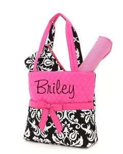 Personalized Diaper Bag Tote Monogrammed 3 Piece Hot Pink and Black