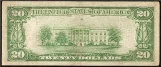 1929 $20 DOLLAR BILL PHILADELPHIA NATIONAL BANK NOTE OLD PAPER MONEY S