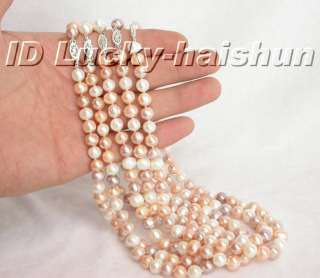 wholesale 5piece 9mm Multi color pearls necklace 17