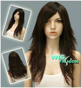 Long Layered Dark Brown Hair Wigs LM08