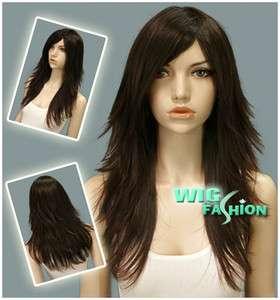 Long Layered Dark Brown Hair Wigs LM08